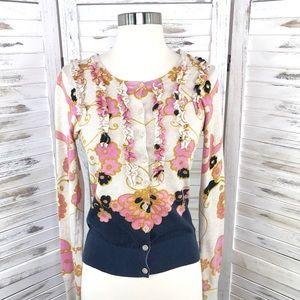 Charlotte Tarantola / Floral Ruffle Button Up M